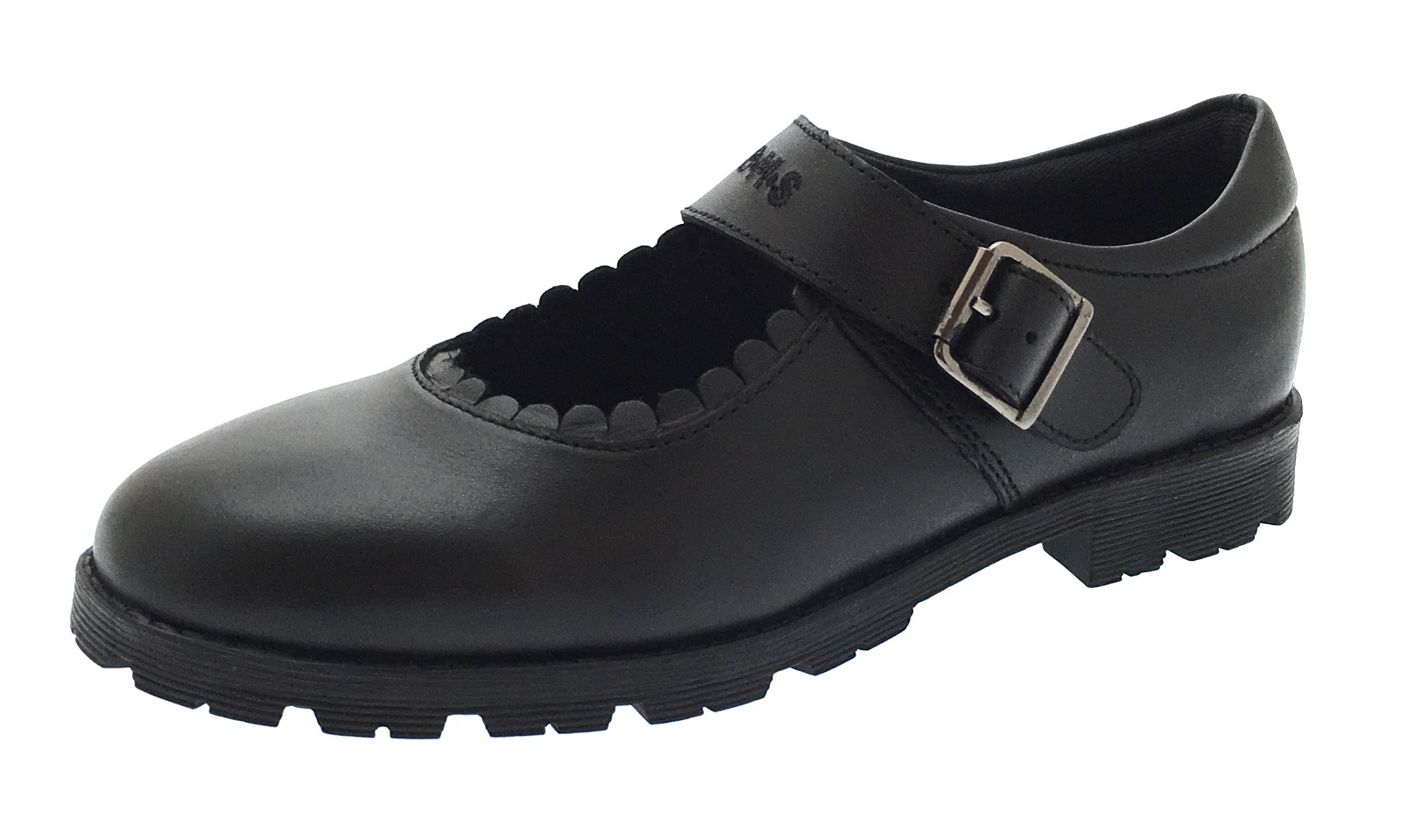 bms buckle my shoe real leather school shoes