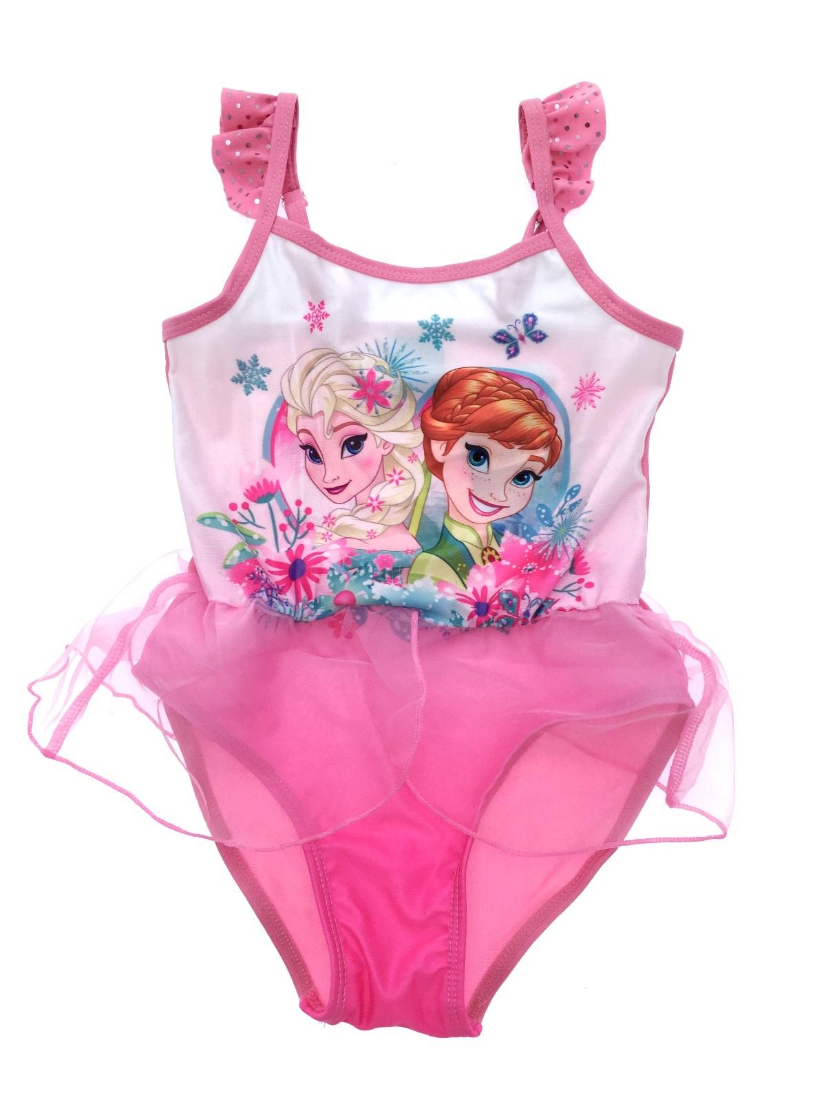 Girls Disney Frozen Elsa Anna Swimming Costume With Skirt