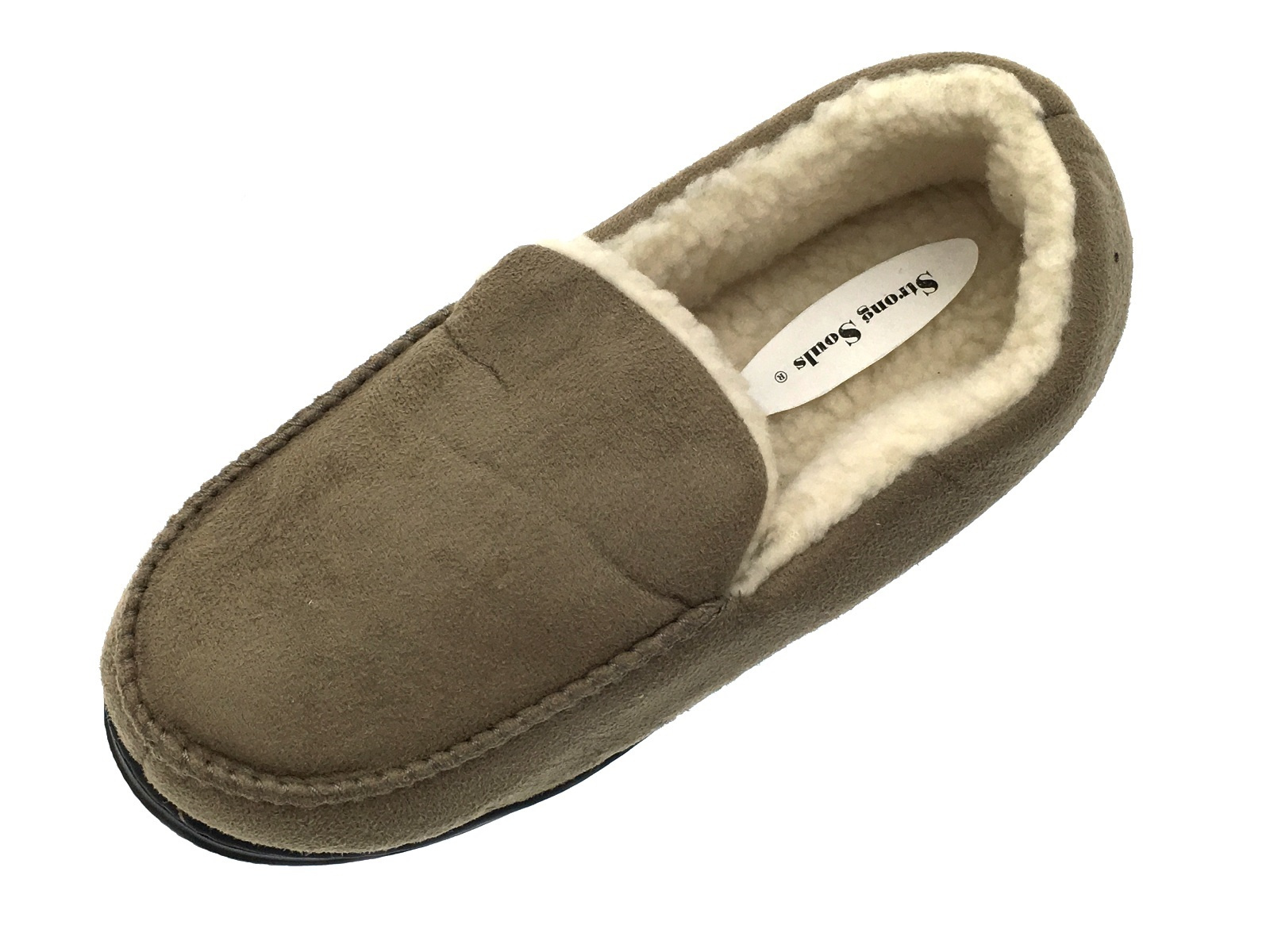 Mens Moccasins Faux Suede Slippers Warm Winter Faux Fur ...