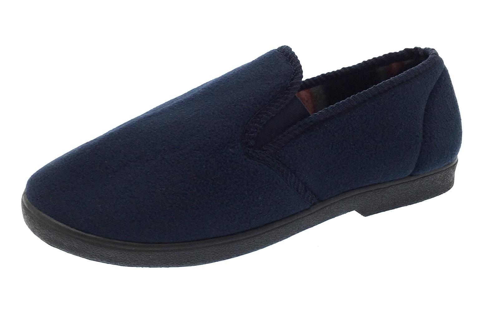 mens luxury fleece slippers warm lined slip on gents flat