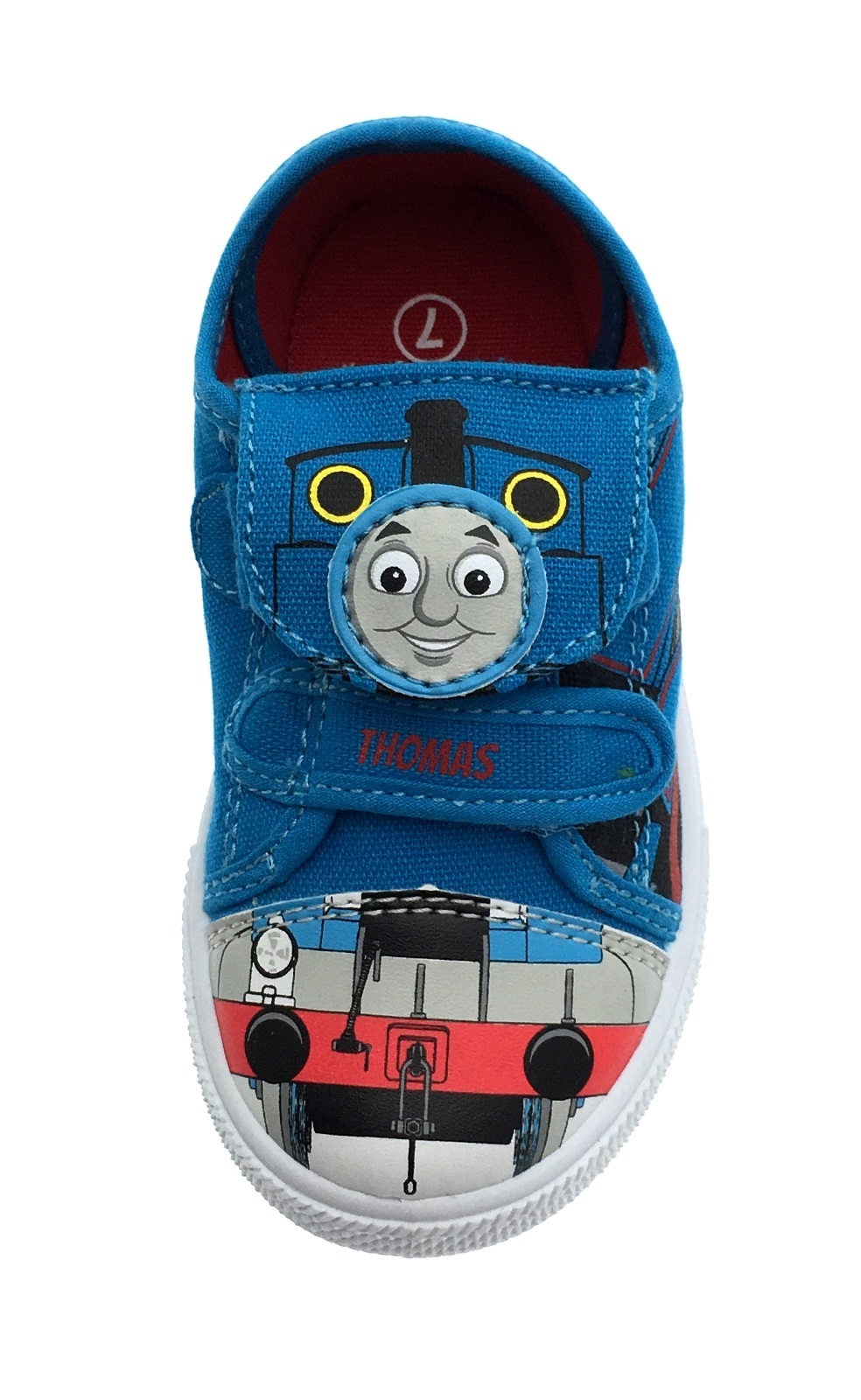 Boys Thomas The Tank Engine Flat Canvas Shoes Adjustable Straps Kids Size