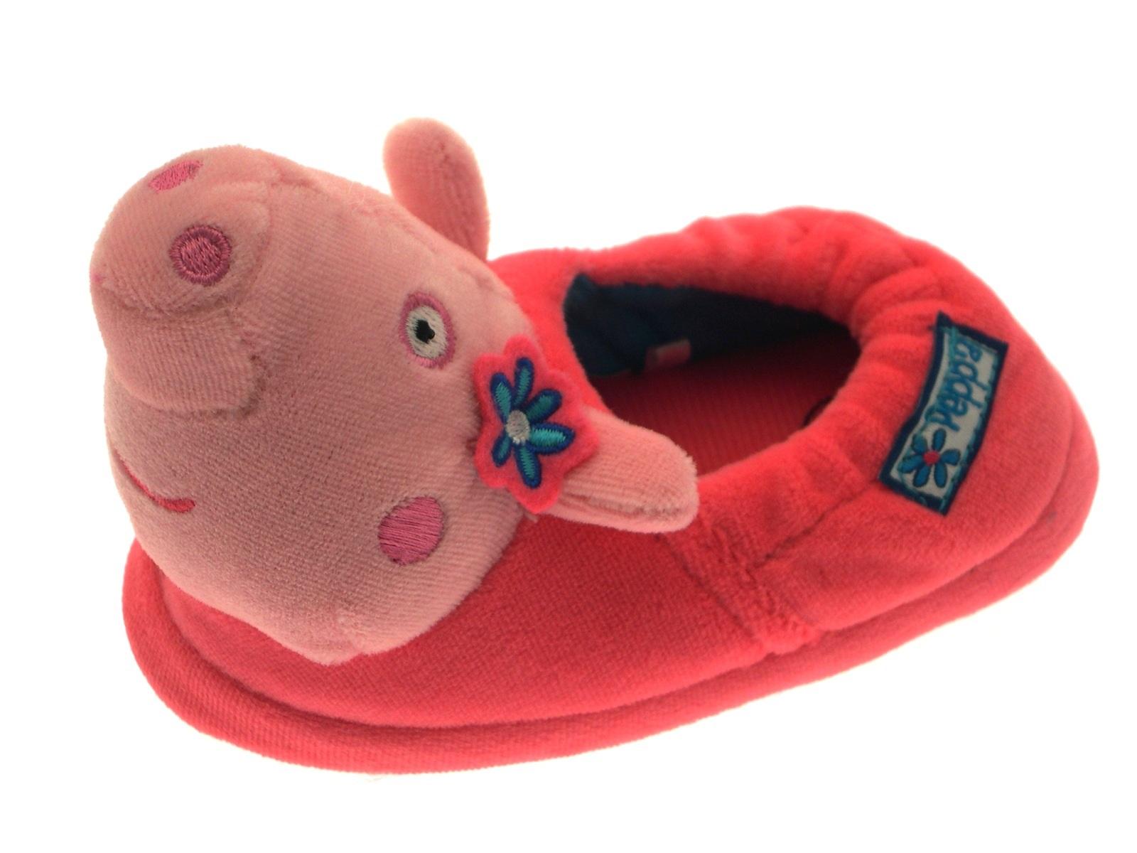Girls 3D Peppa Pig Slippers Novelty Fun Character Pink Fleece Boots Kids Size