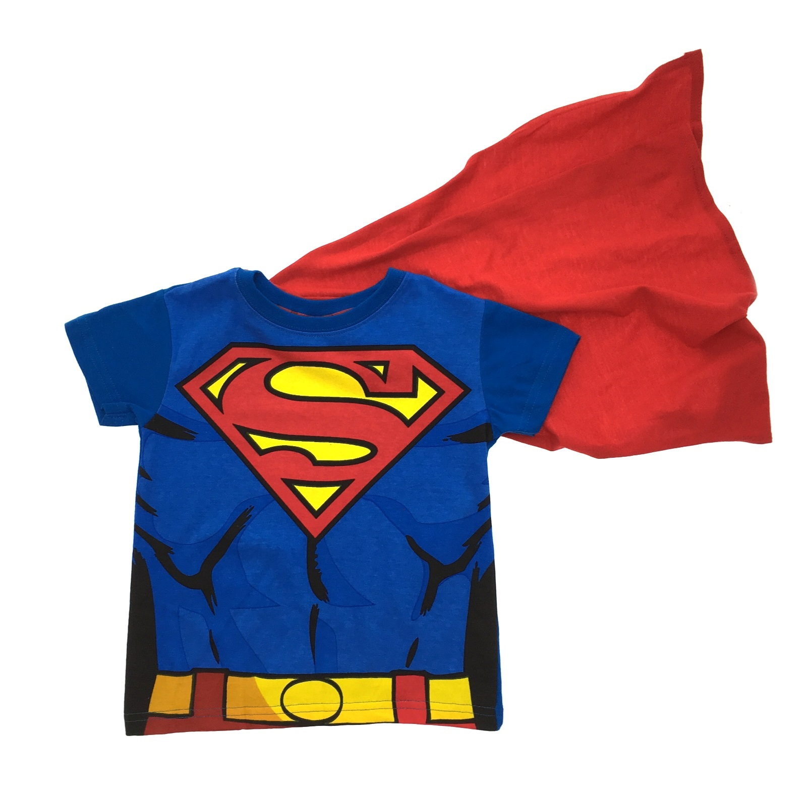 Now your little one can dress up as the Man of Steel wearing a Superman T-Shirt with Cape for boys! This blue cotton T-shirt features the Superman logo, muscles designs, and an attached red polyester cape. Pair this T-shirt with a pair of blue leggings to create a DIY Superman costume for your child.