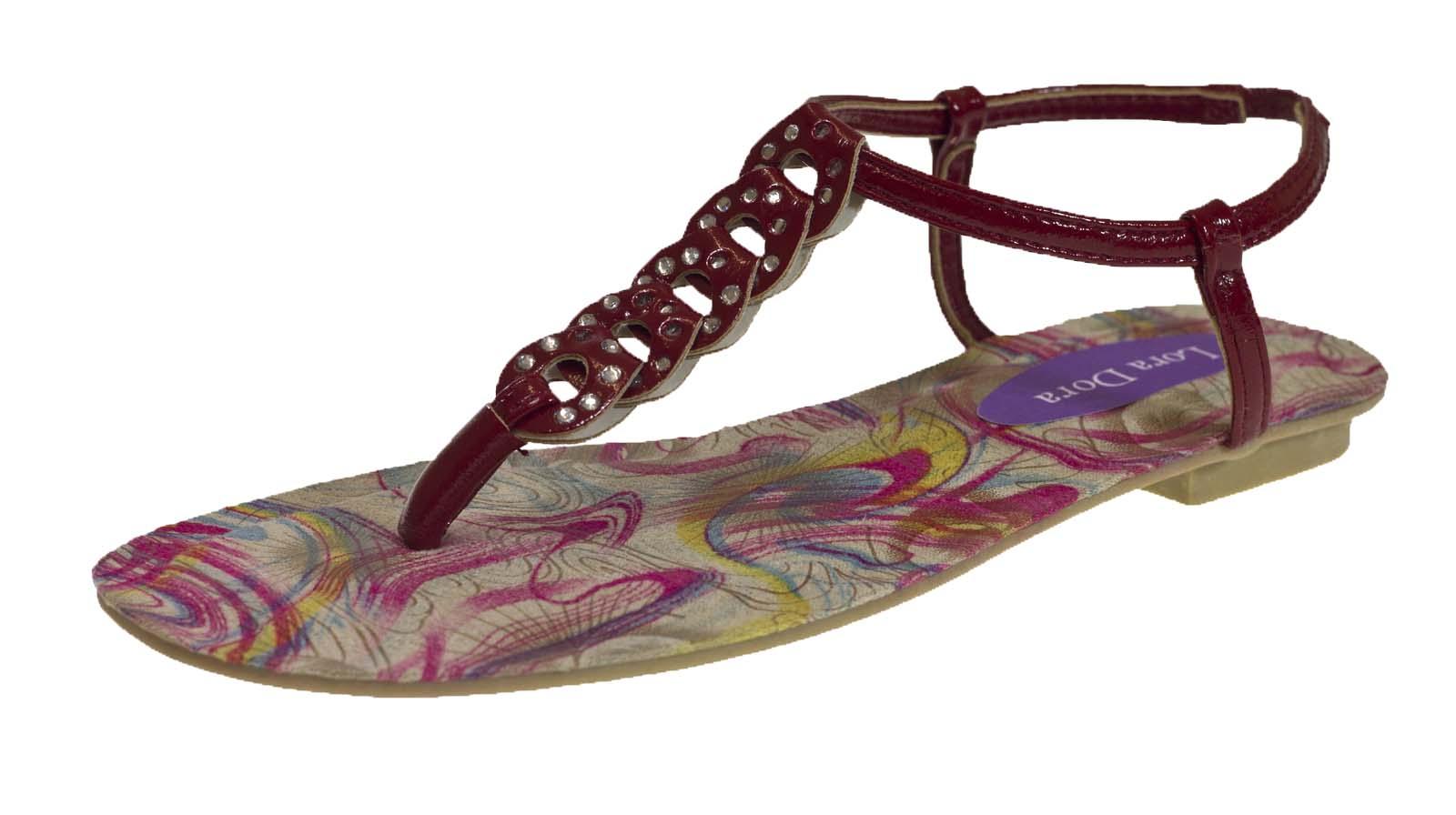 Femme strass sandales en cuir synthétique été plage plates chaussures à lanières filles taille