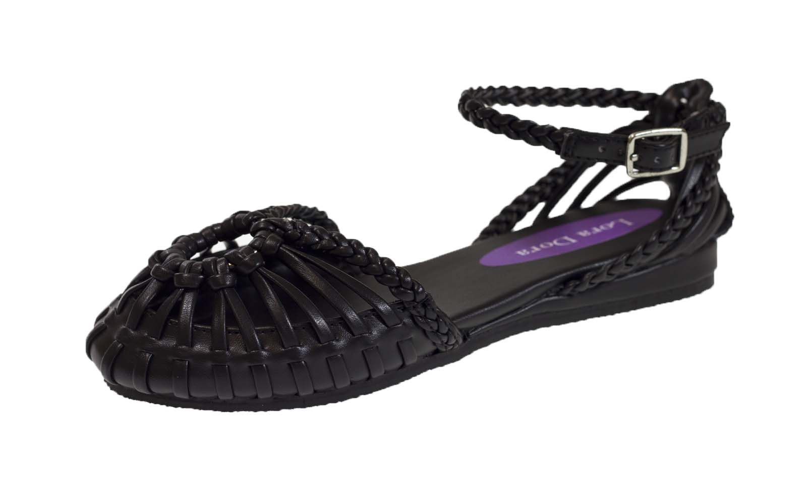 Black sandals holiday - Girls Black Sandals Strappy Faux Leather Open Shoes Summer Holiday Kids Size