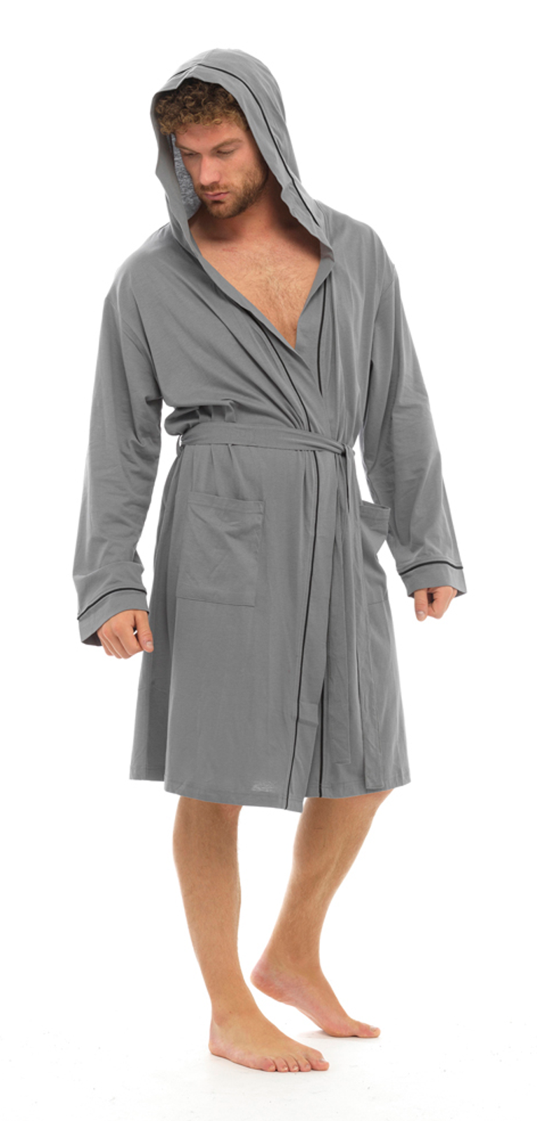 mens lightweight hooded robe summer dressing gown 100 cotton bathrobe size ebay. Black Bedroom Furniture Sets. Home Design Ideas