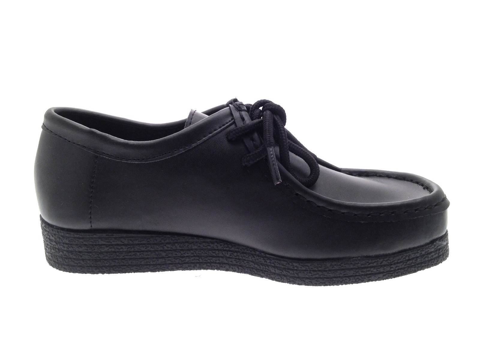 Girls Black Leather School Shoes Womens Lace Up Work Loafers ... 5e2402776930
