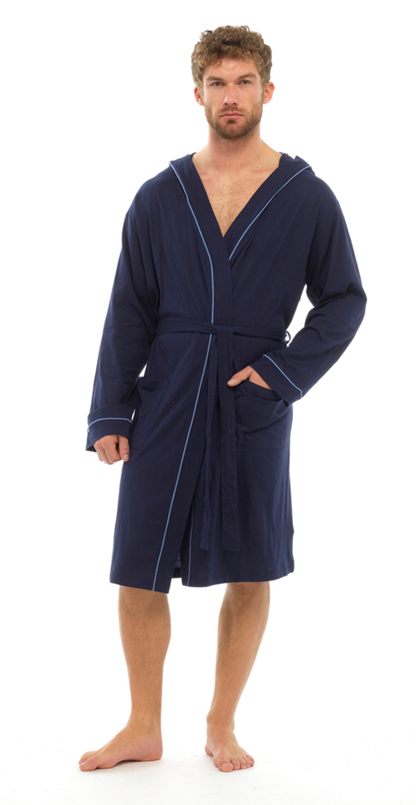mens lightweight hooded robe summer dressing gown 100 cotton bathrobe size. Black Bedroom Furniture Sets. Home Design Ideas