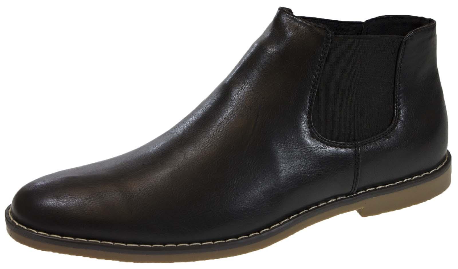 mens chelsea ankle boots slip on faux suede smart desert