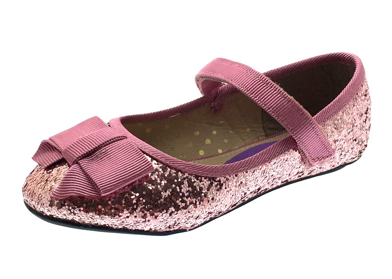 Girls Glitter Party Shoes Ballerinas Mary Janes Flat Ballet Pumps Kids Size