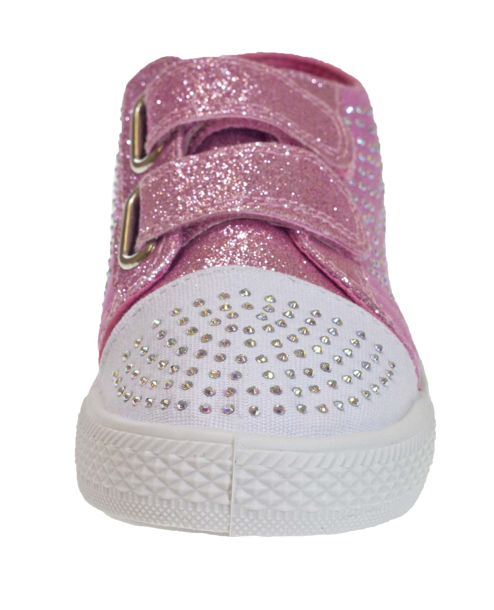 Niños CHICAS Brillo Velcro Bombas Lentejuelas Zapatos Canvas Bombas formadores tamaño del Reino Unido 7-2