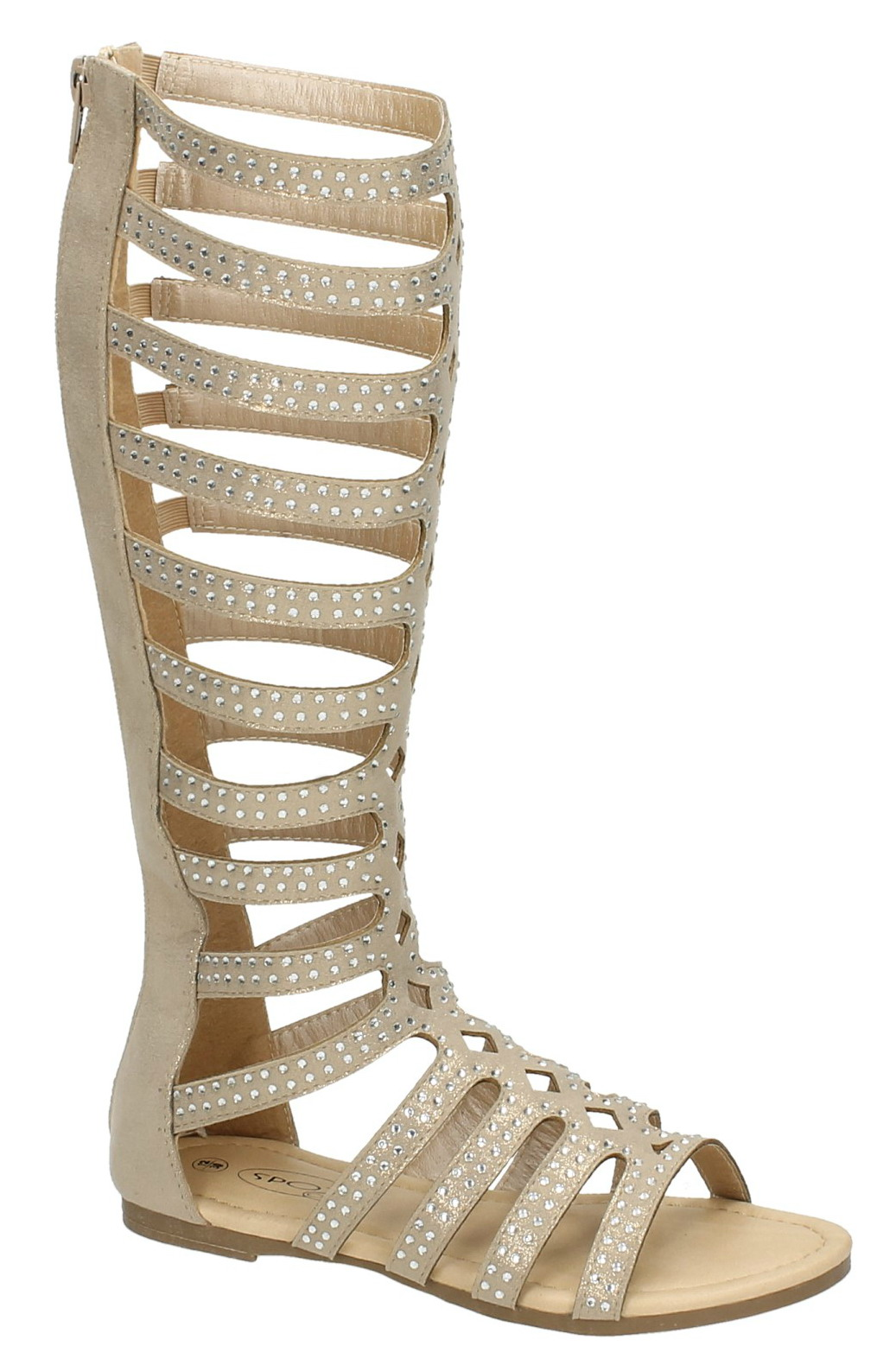d479e22bab0d8f Girls Tall Knee High Strappy Gladiator Sandals Flat Diamante Summer ...