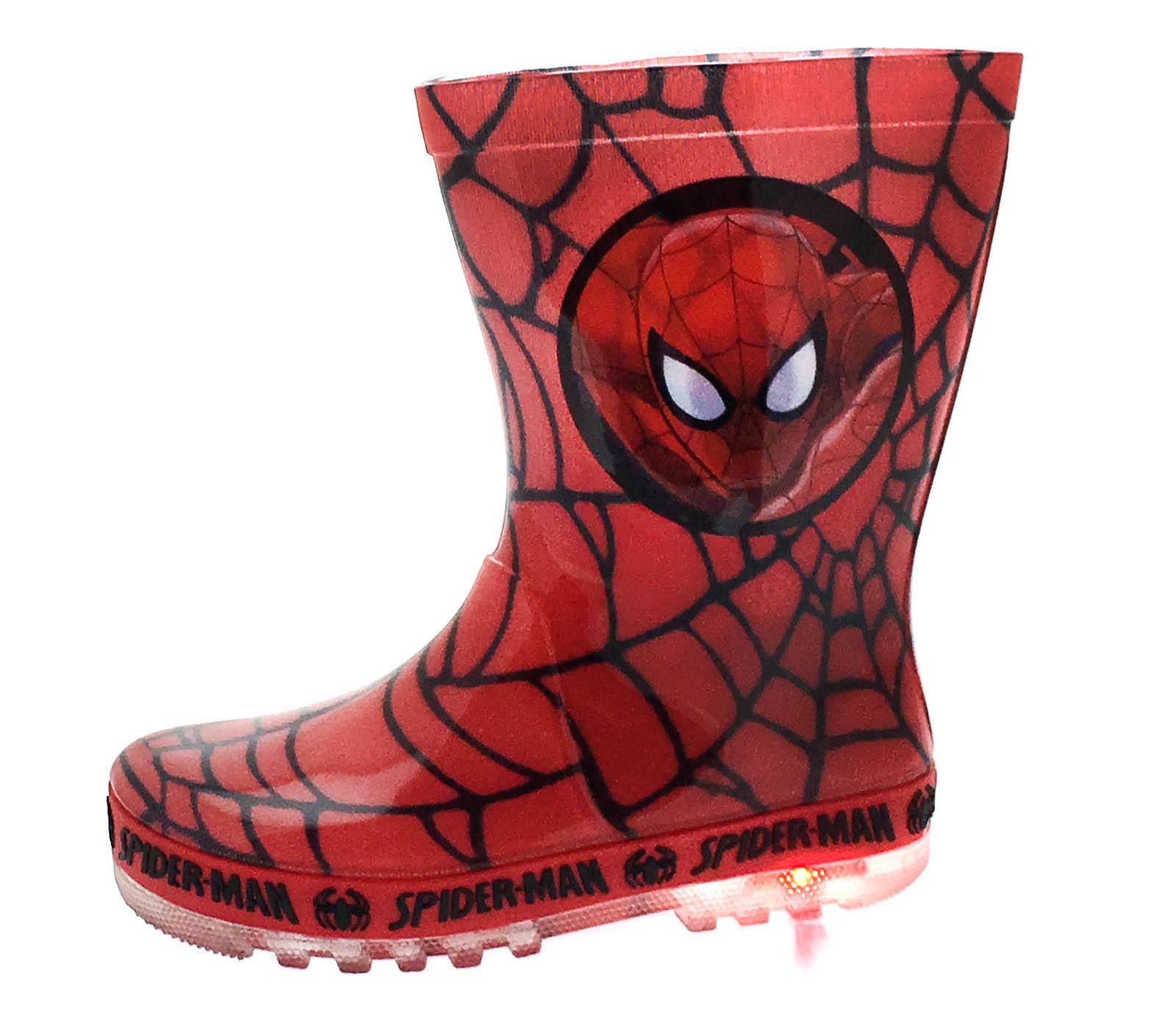 3825859c5df Details about Marvel Spiderman Light Up Wellington Boots Super Hero Rain  Wellies Boys Size
