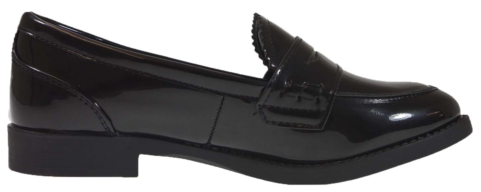 Girls Slip On Loafers Faux Leather School Shoes Womens Comfort Work ... ffc78e319