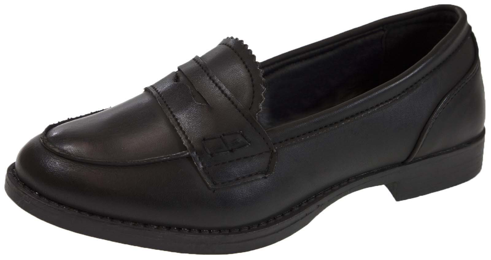 Girls Slip On Loafers Faux Leather School Shoes Womens Comfort Work ... f6ec5ce5e6
