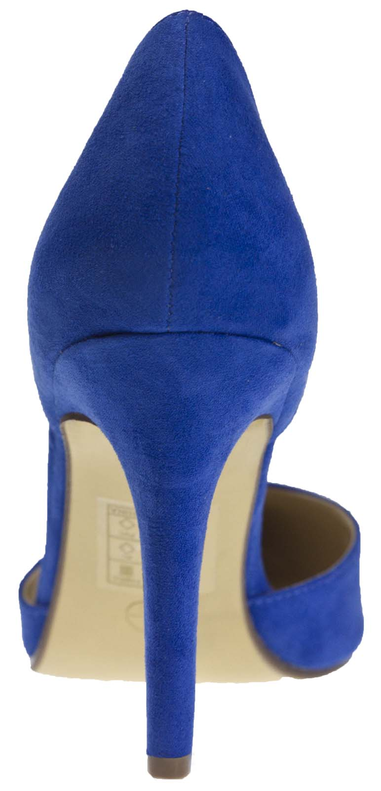 Womens Faux Suede Stiletto High Heels Open Sided Dorsay Court Shoes Ladies Size