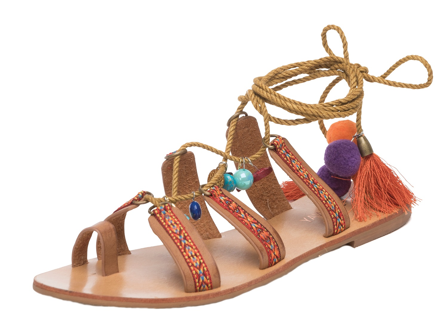 Womens Pom Pom Lace Up Sandals Flat Strappy Tassel Summer ...