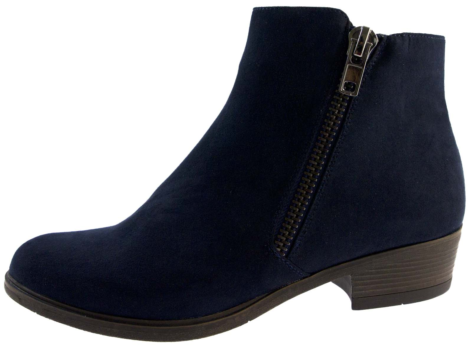 Womens Faux Suede Low Block Heel Chelsea Ankle Boots Zip Up Shoes ...