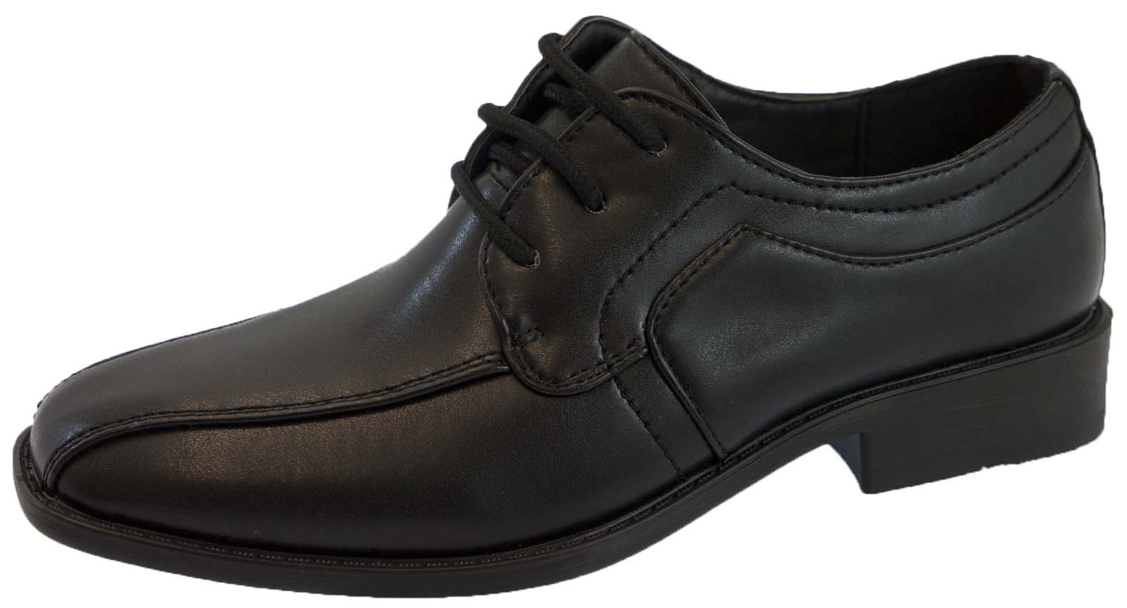 boys black faux leather school shoes lace up prom formal