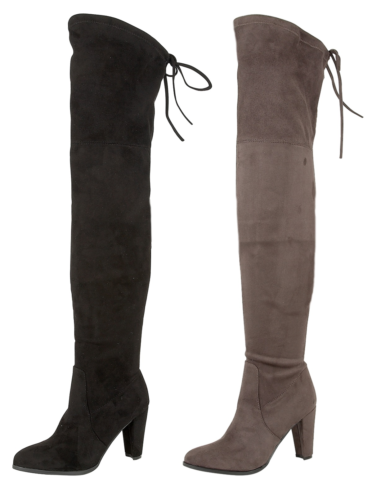 womens faux suede thigh high boots high heels adjustable