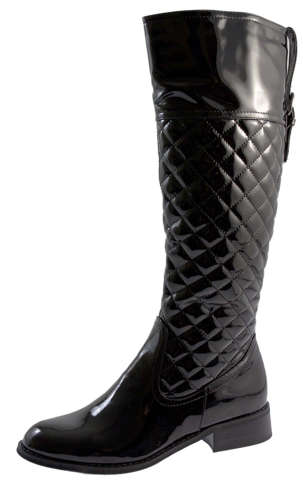 womens knee high quilted boots faux patent leather flat
