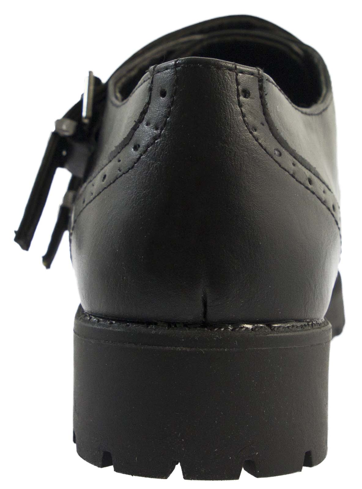 Womens Chunky Sole Work Shoes Girls School Shoes Faux Leather Brogues Size