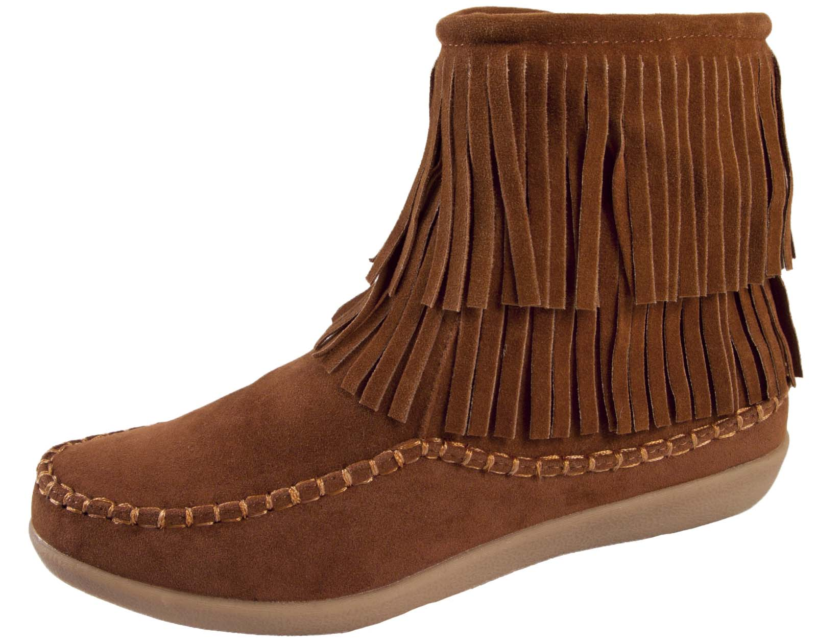 womens tassel ankle boots faux suede flat moccasin