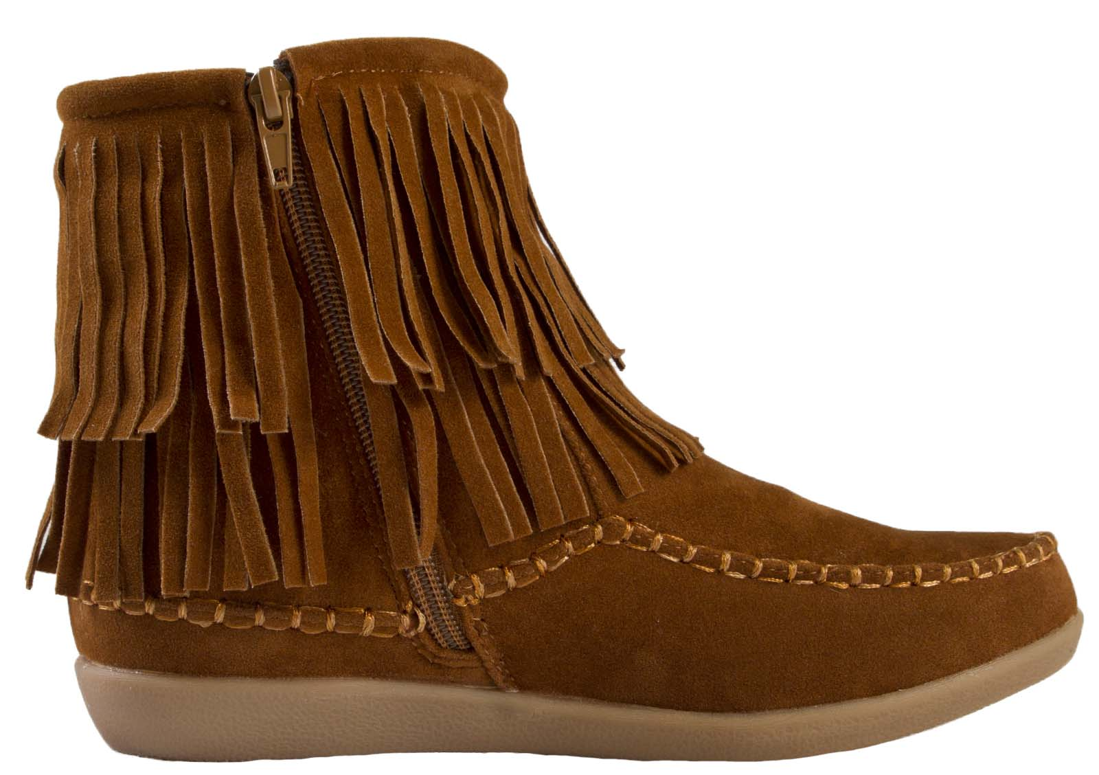 Popular  Faux Suede Fringe Tassel Block High Heel Zip Up Ankle Boots Shoes