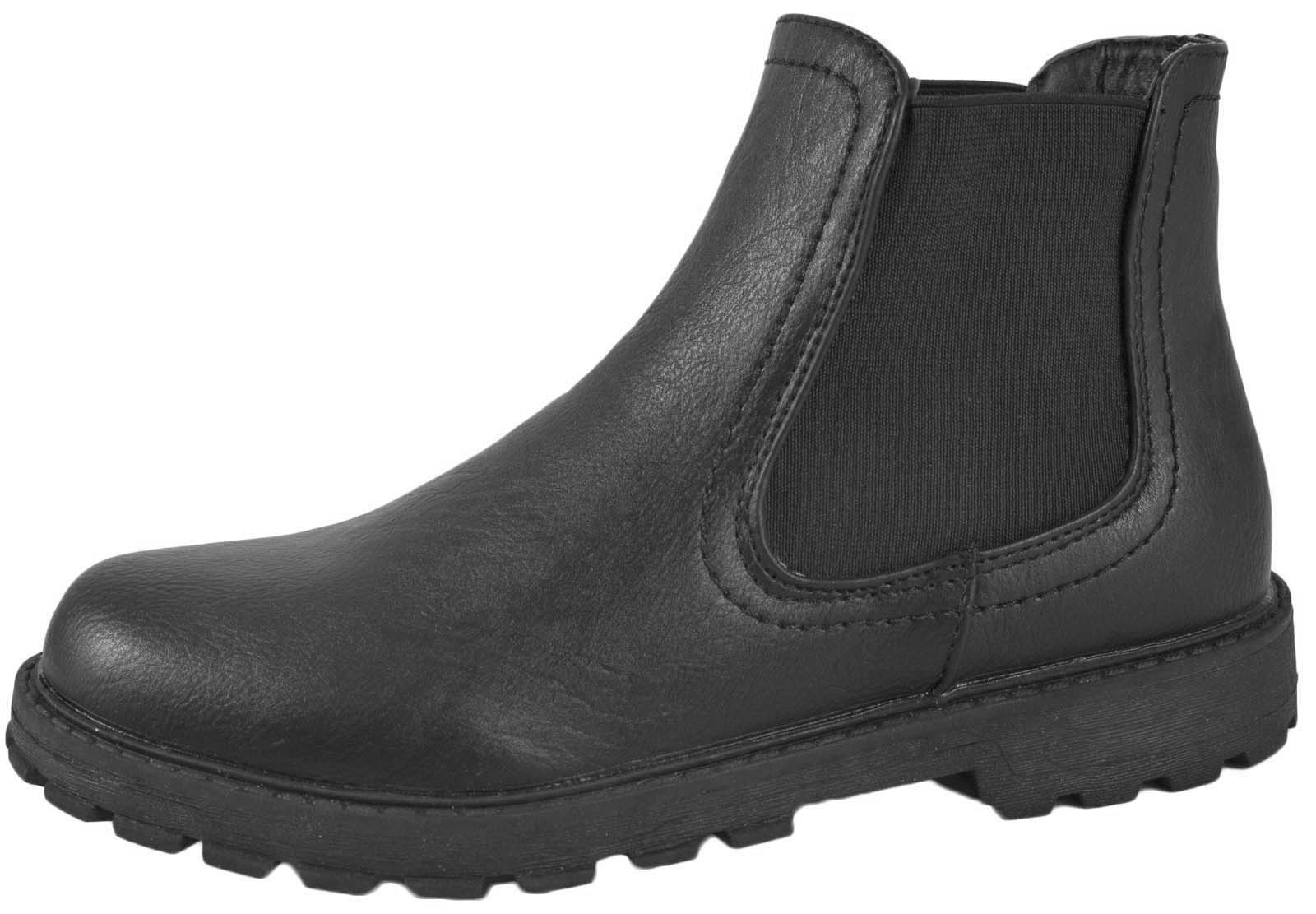 NEW BOYS BLACK SCHOOL FAUX LEATHER CHELSEA ANKLE BOOTS PULL ON ...