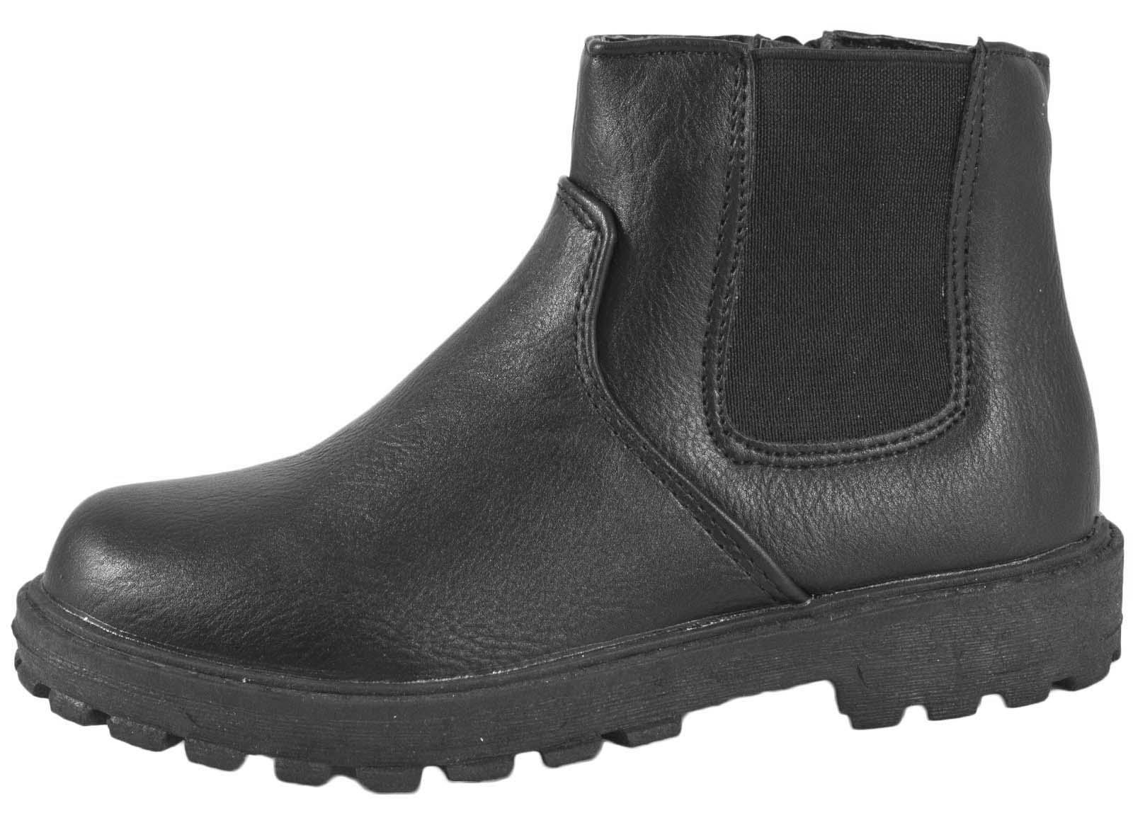 boys black school shoes faux leather chelsea ankle boots