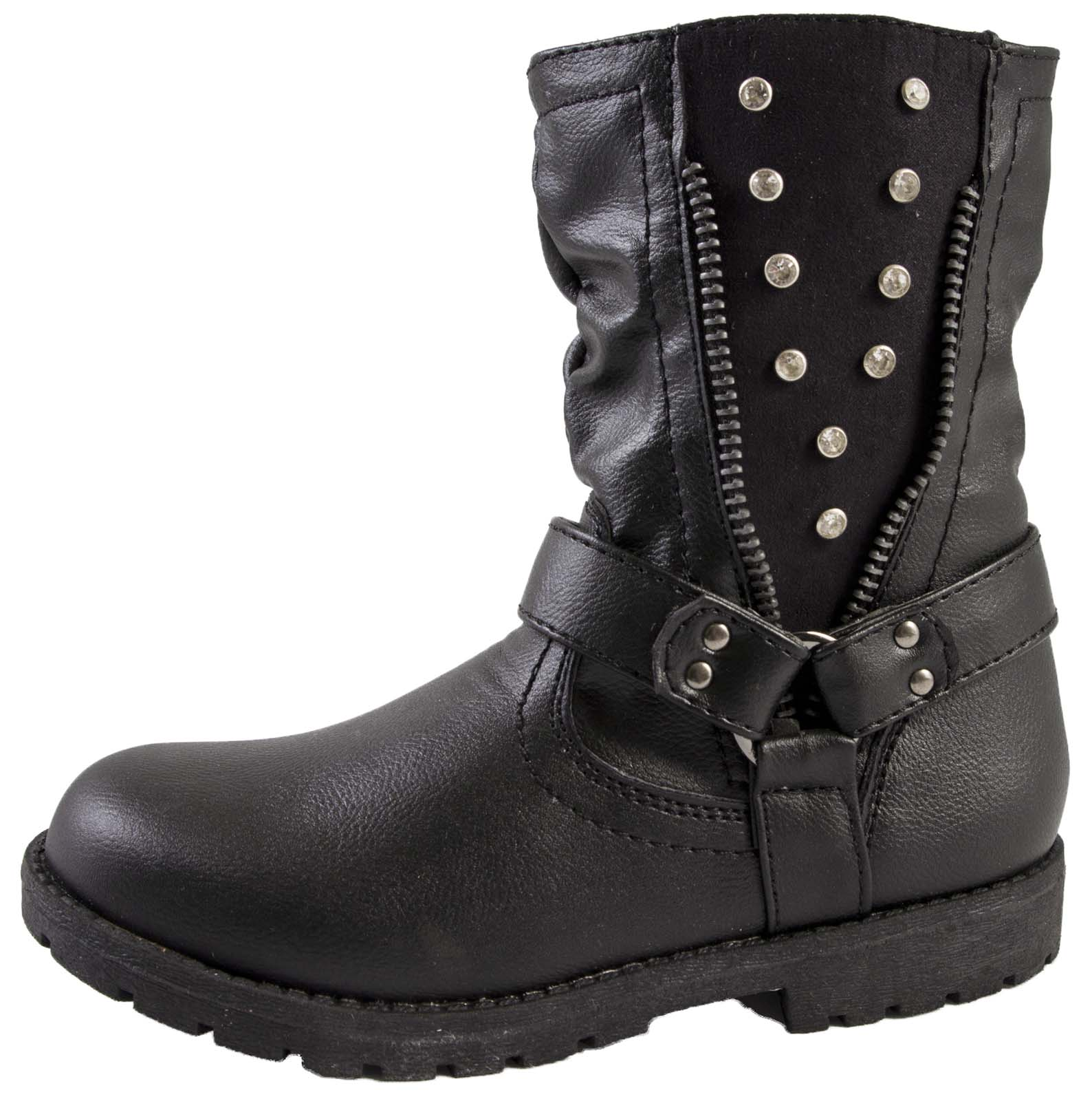 Girls Faux Leather Ankle Boots Winter Diamante Riding