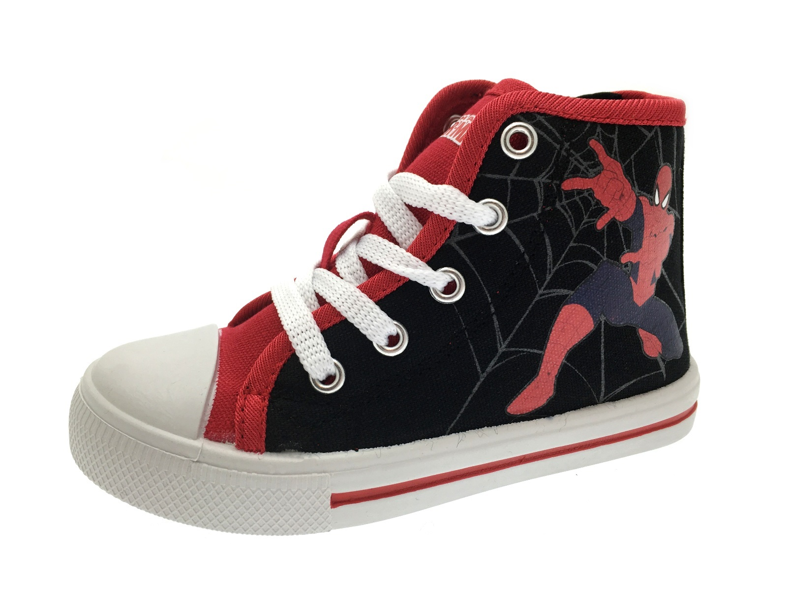 Marvel Spiderman Hi Tops Canvas Pumps Trainers Ankle Boots Boys Shoes Kids Size