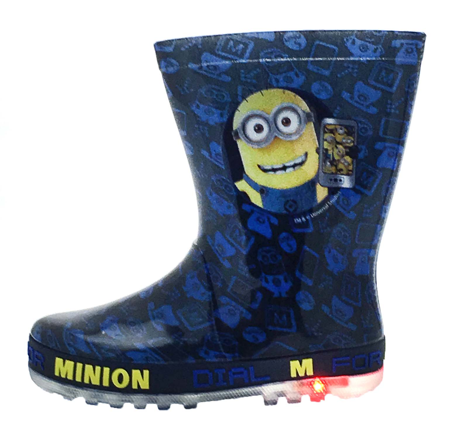 Kids Character Flashing Light Up Wellington Boots Rain