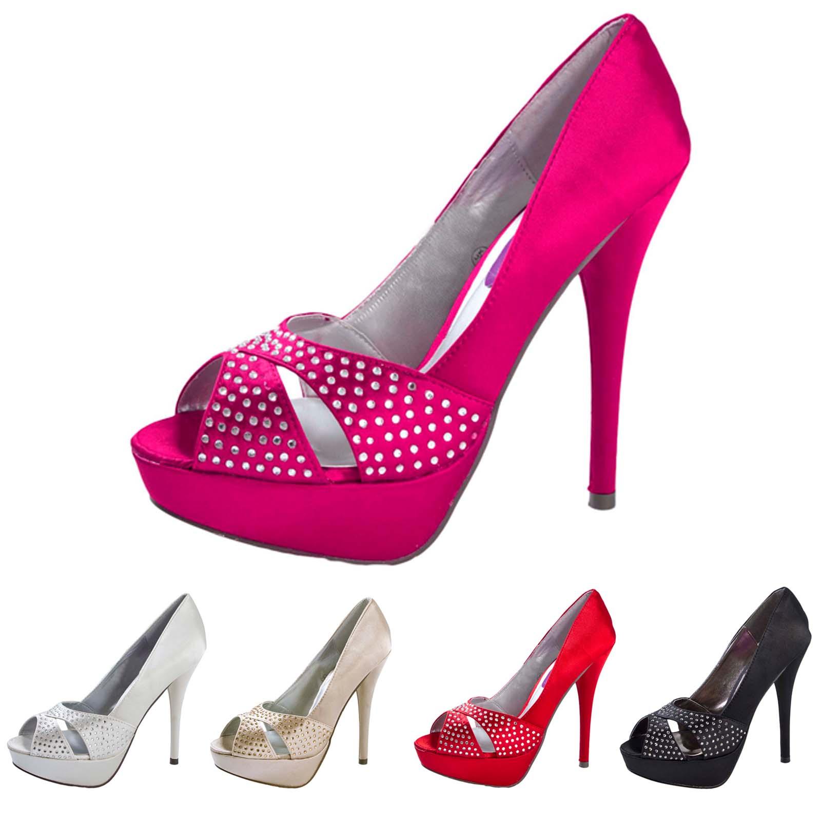 womens peep toe diamante high heels satin bridal wedding. Black Bedroom Furniture Sets. Home Design Ideas