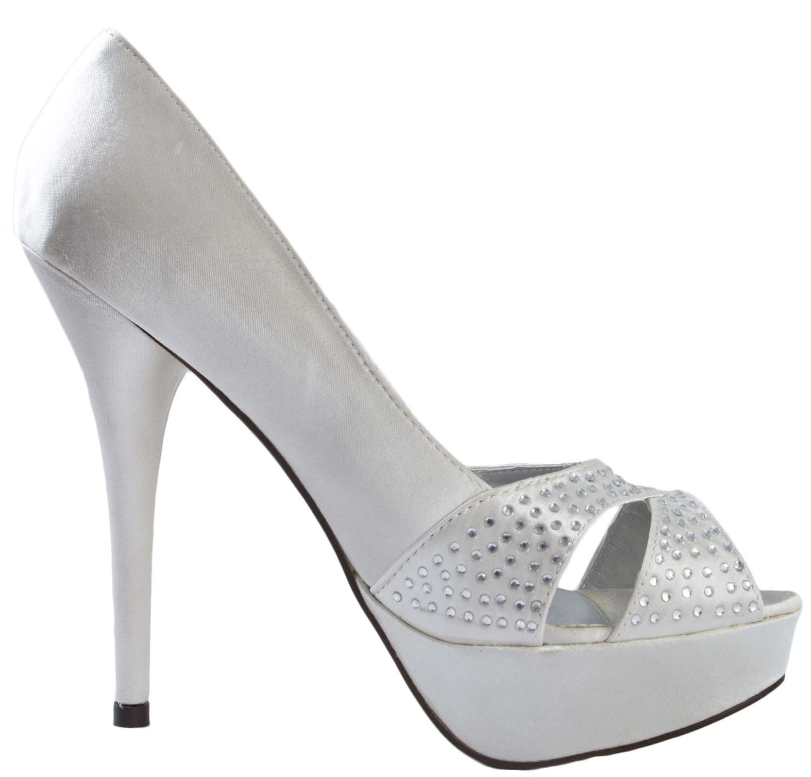 Womens Peep Toe Diamante High Heels Satin Bridal Wedding Shoes ...