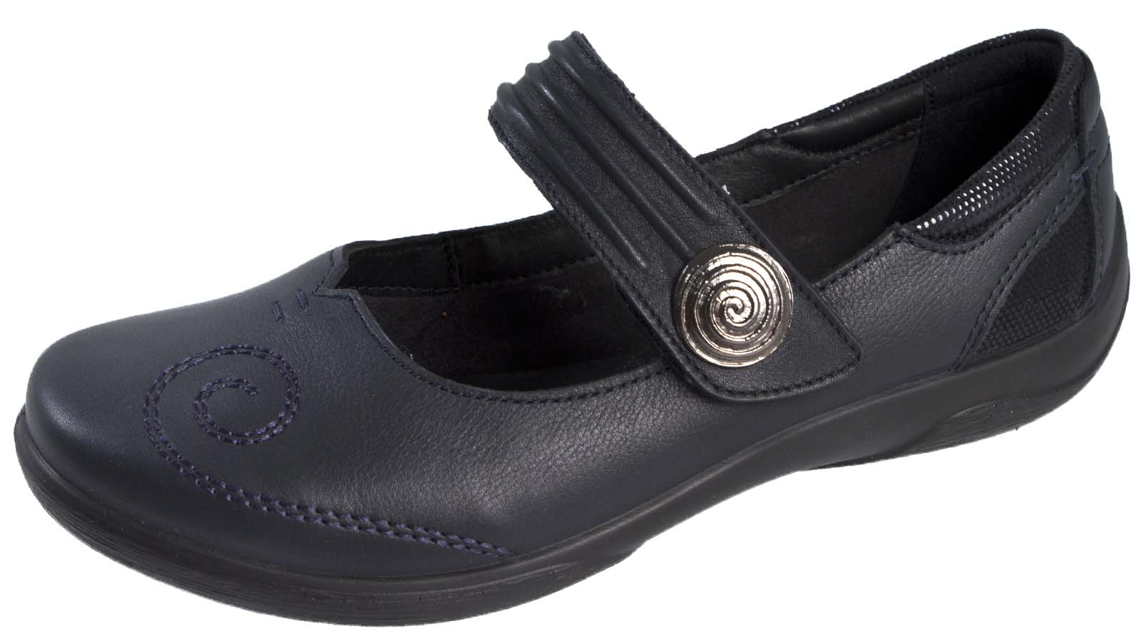 Flat Black Wide Fitting Shoes