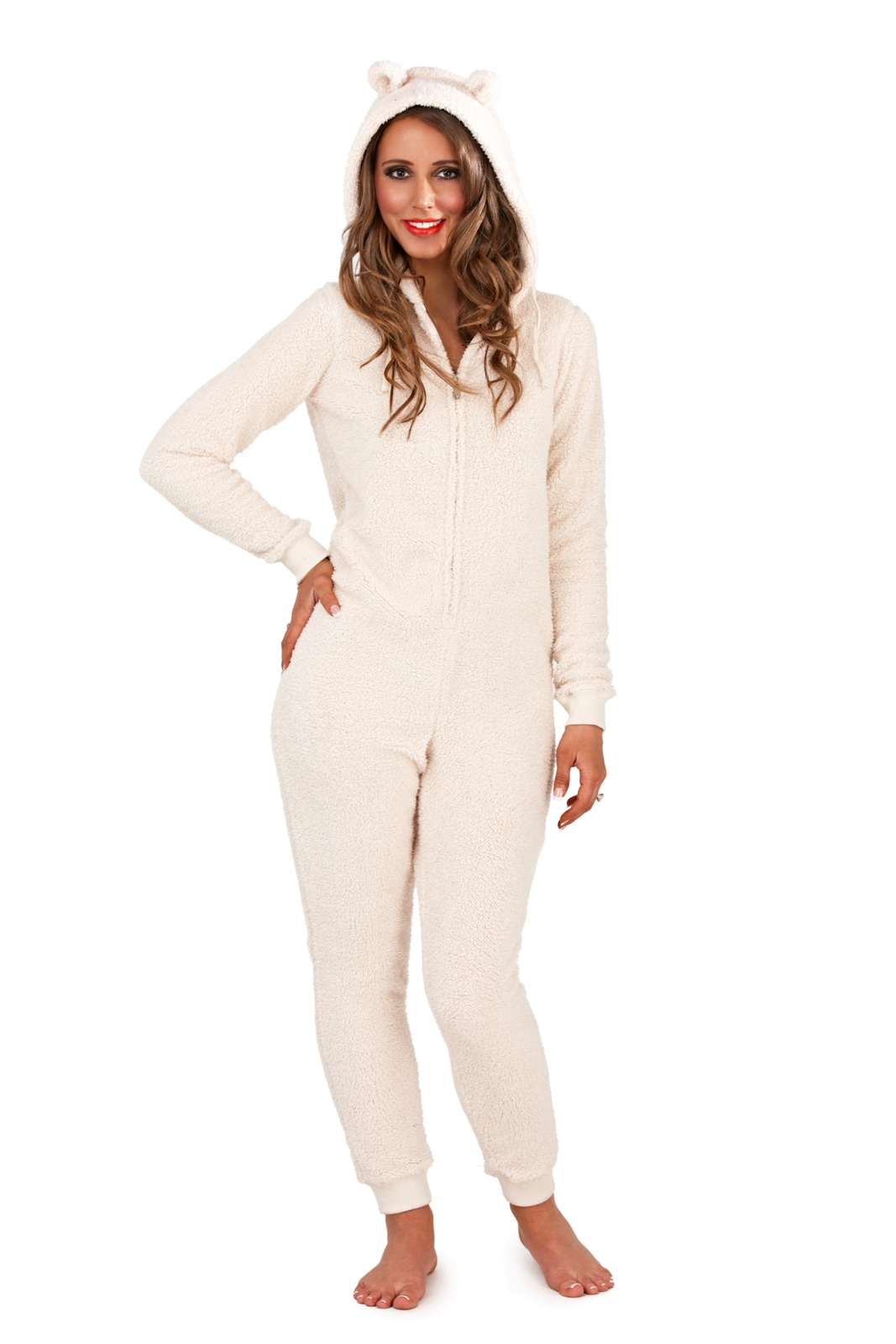 Luxury Womens Novelty Hooded 3D All In One Fleece Pyjamas ...