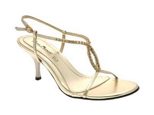 Womens Diamante Mid Heel Sandals Strappy Wedding Bridal