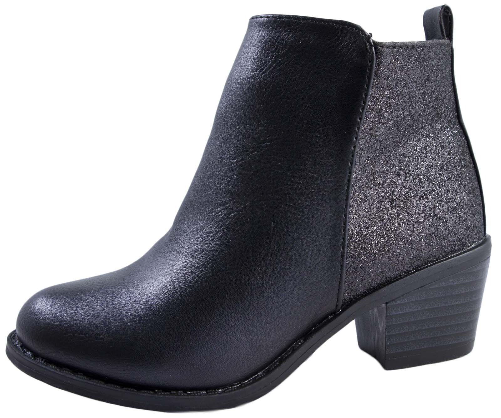 Girls Faux Leather Chelsea Ankle Boots Glitter Low Heel
