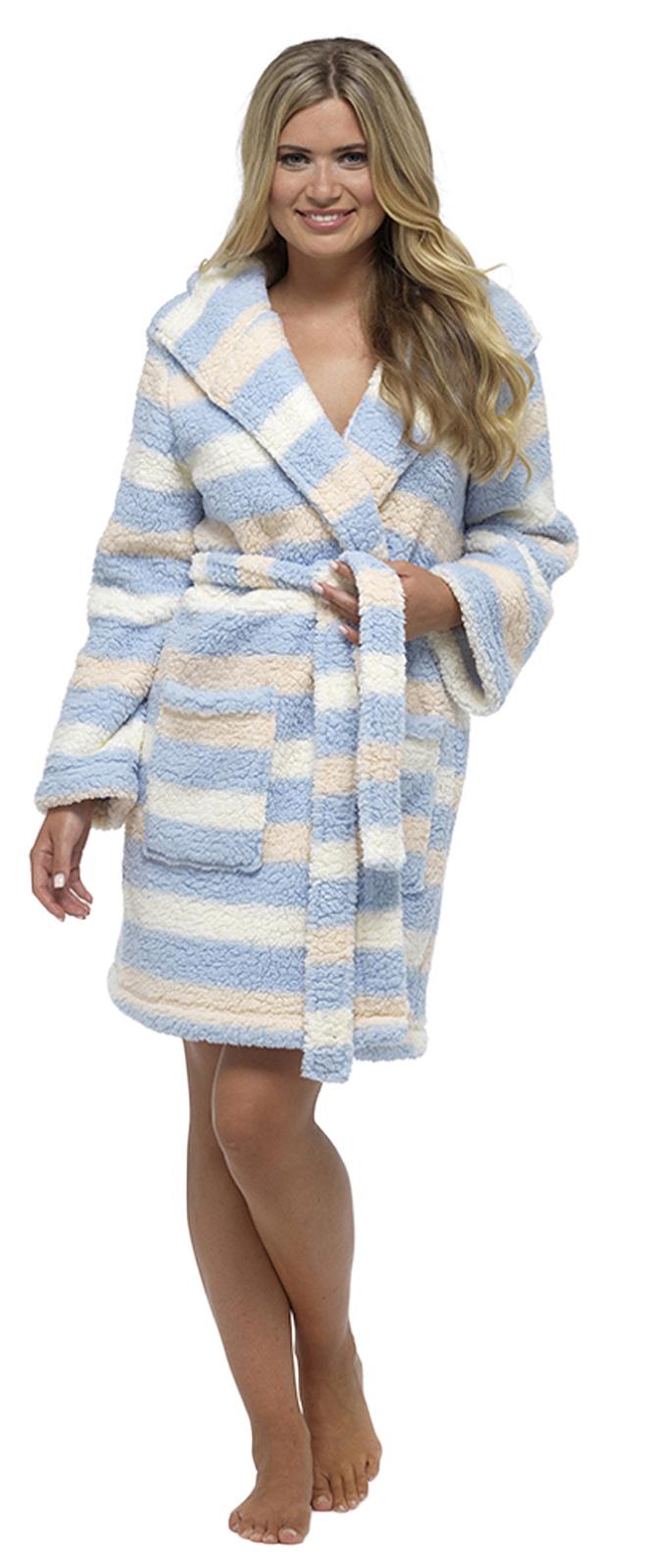 Womens Hooded Sherpa Soft Snuggle Dressing Gown Short Bath Robe ...