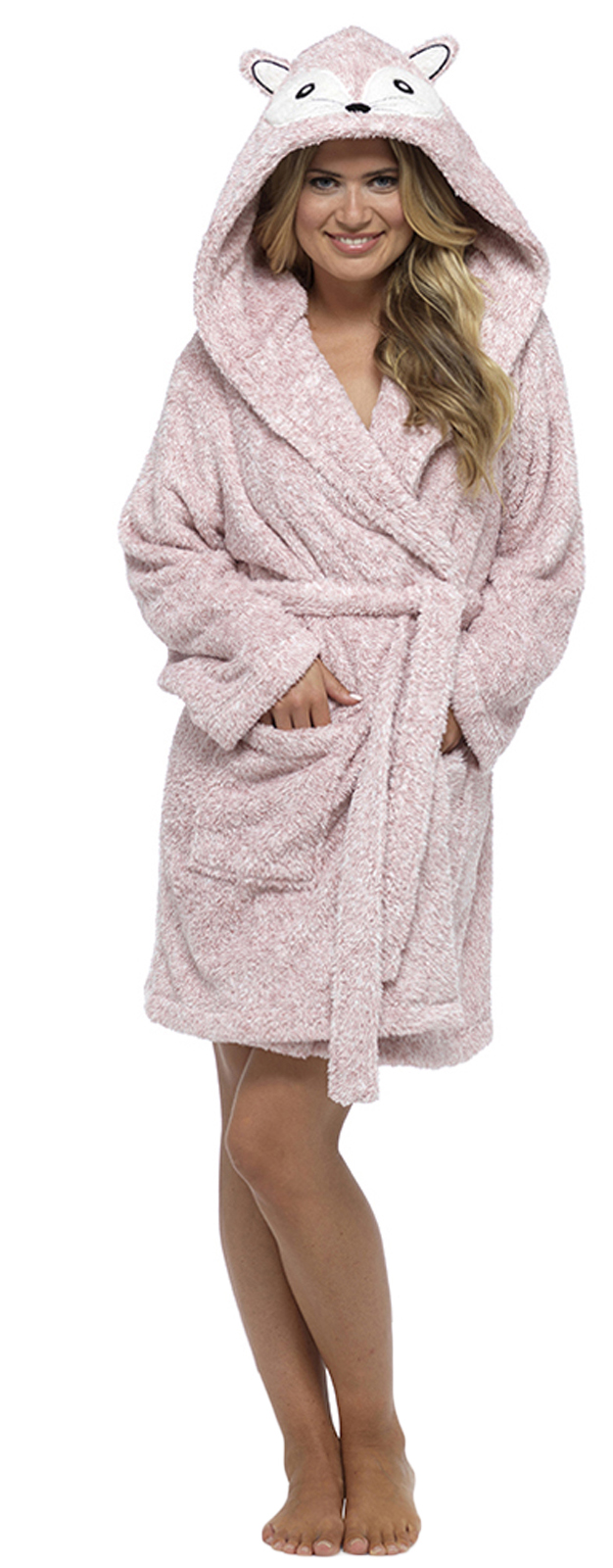Womens Hooded Sherpa Soft Snuggle Dressing Gown Short Bath Robe ...