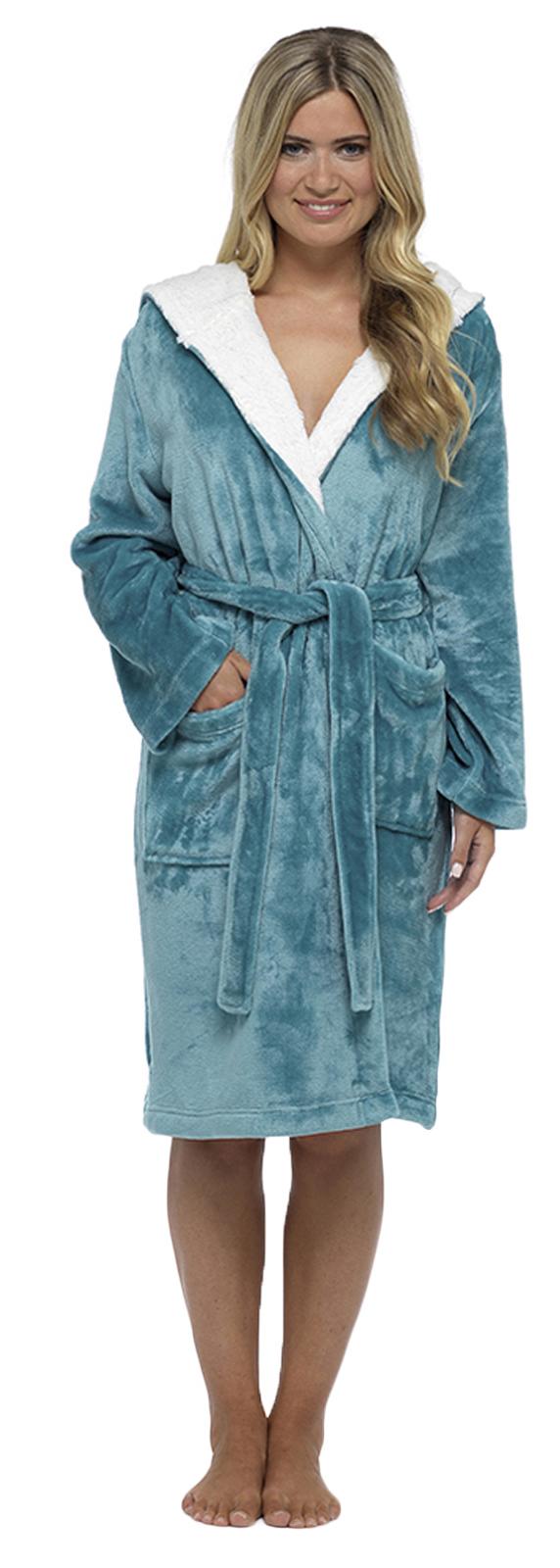 Womens Short Hooded Dressing Gown Bath Robe Housecoat + Belt Ladies ...