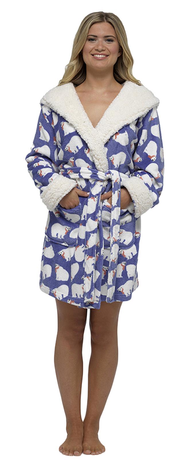 4efa77cfc6 Womens Short Hooded Dressing Gown Bath Robe Housecoat + Belt Ladies ...