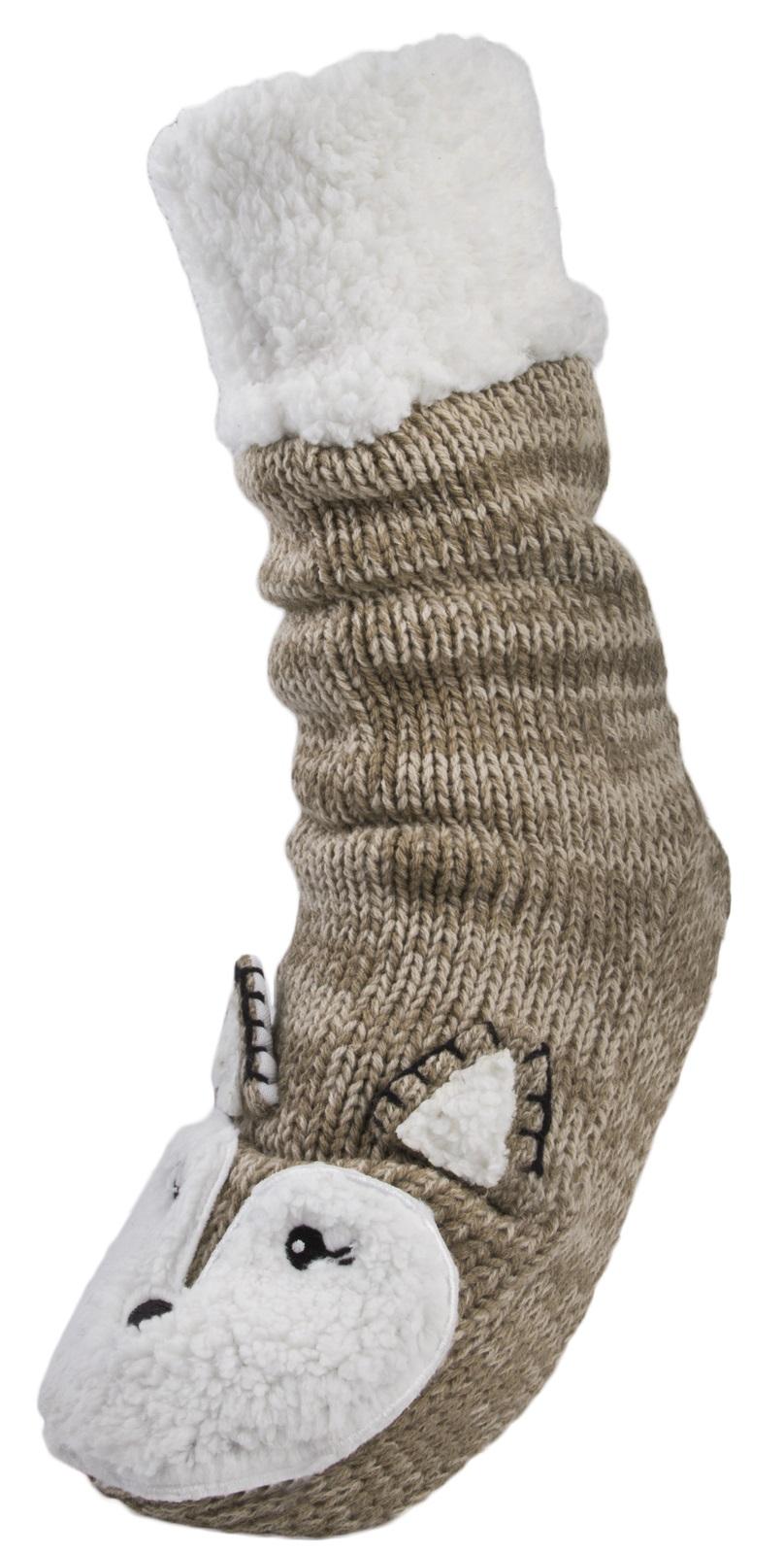 Womens Reindeer Knitted Boots Slipper Socks Ankle Booties Ladies Girls Size 3-8 | EBay