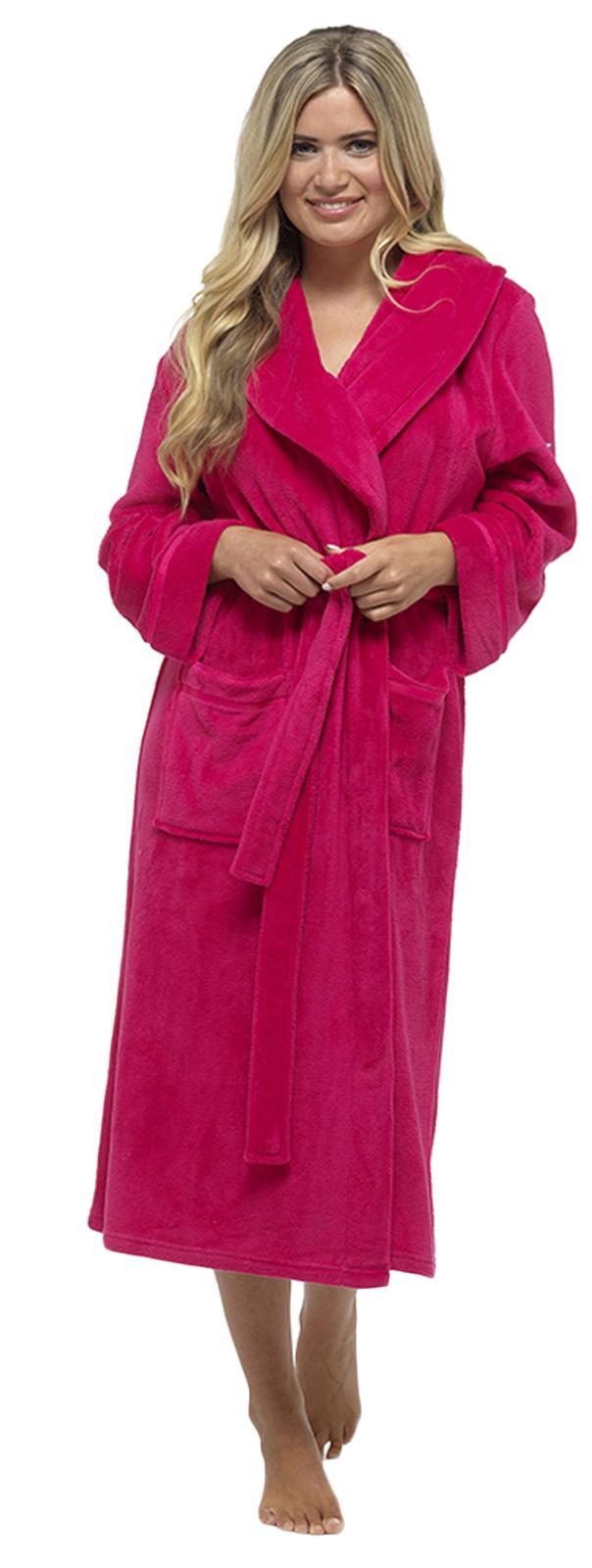 Details about Luxury Womens Full Length Fleece Dressing Gown Long Warm Winter Bath Robe Size
