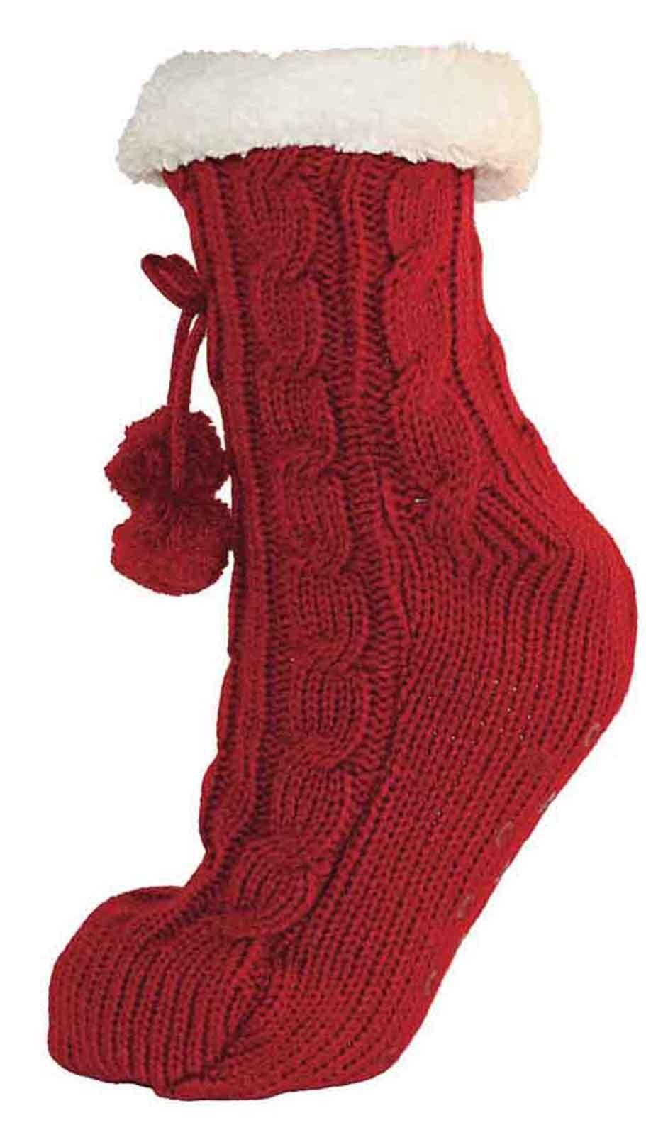 Womens Fleece Fur Lined Slipper Socks Thermal Girls Non Slip Slippers Booties | EBay