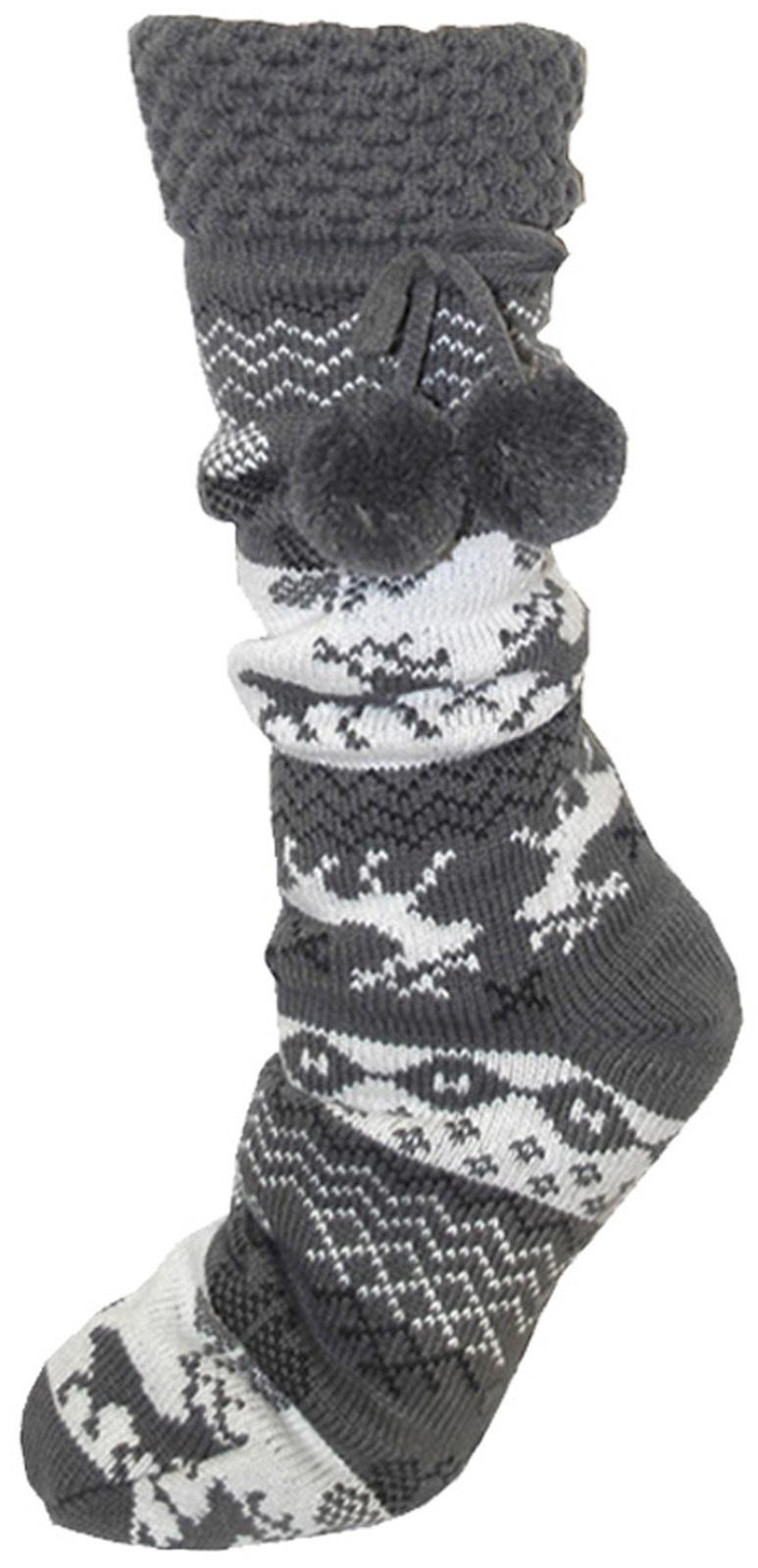 Womens Fleece Fur Lined Slipper Socks Thermal Girls Non