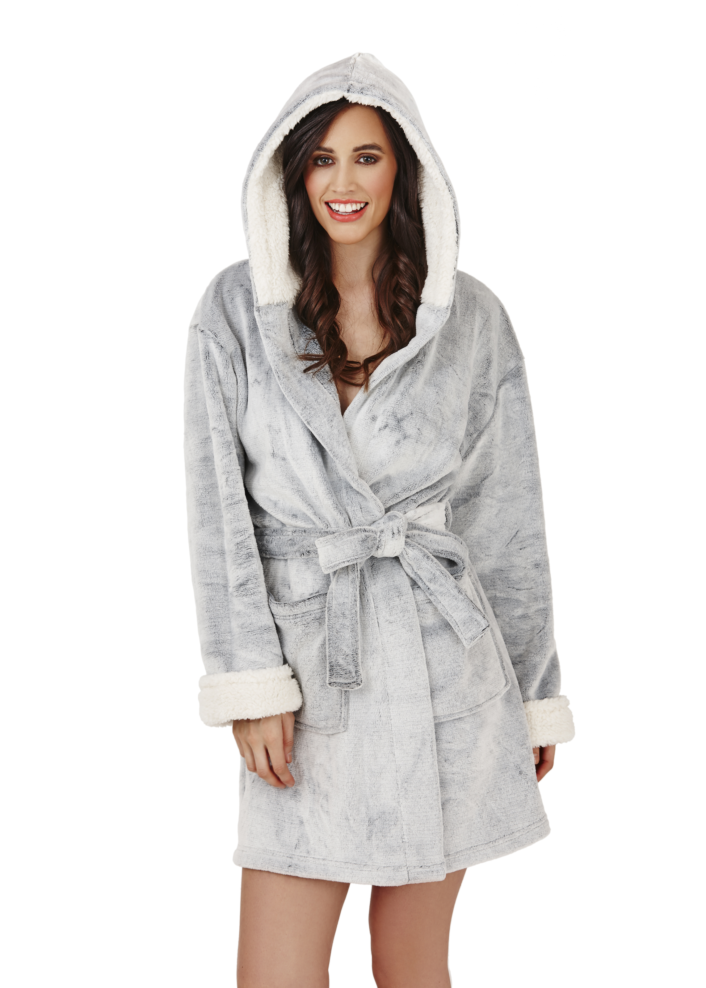Womens short luxury fleece dressing gown belt bath robe for Luxury women