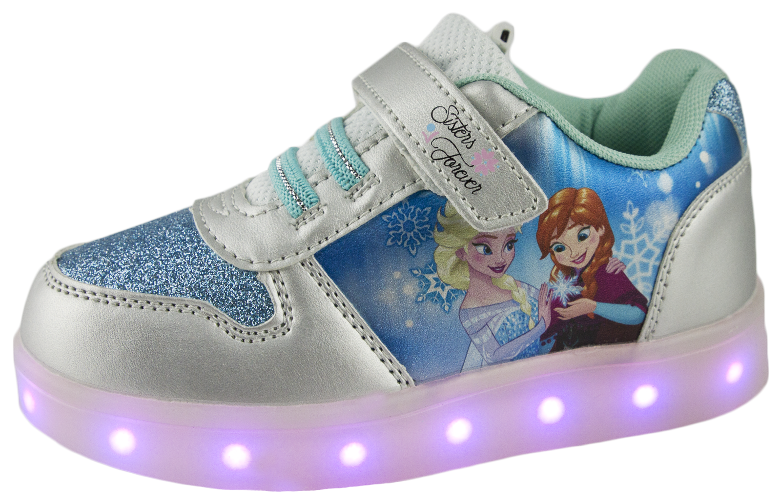 Disney Frozen LED Light Up Trainers USB Girls Anne Elsa ...