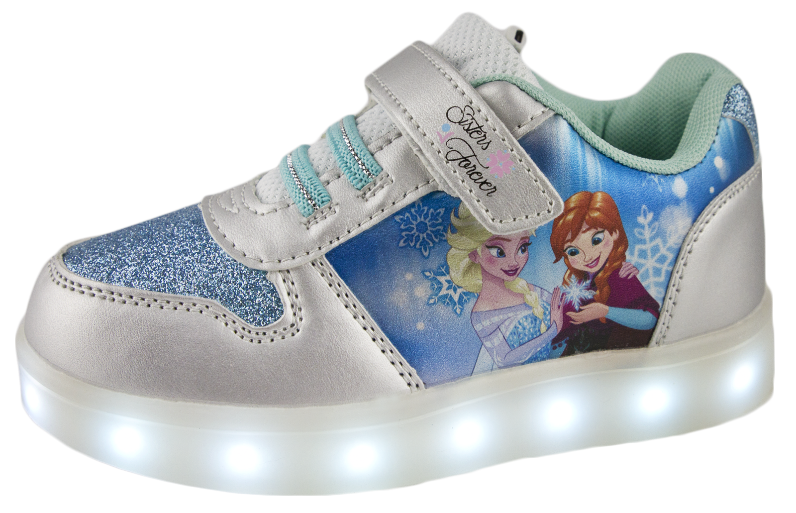 Disney Frozen Led Light Up Trainers Usb Girls Anne Elsa